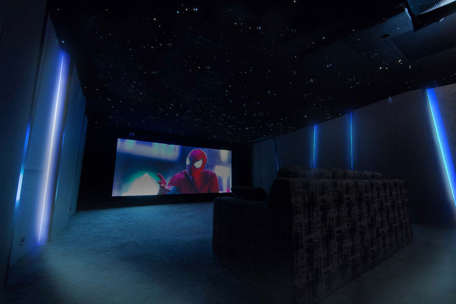 Our Home Theatre Room is designed to NC30 with every construction detail as close to professional standard as possible. To minimize room acoustic distortion and ensure adequate sound-proofing, acoustic treatments including absorption, diffusion and isolation systems have been applied to the walls and ceilings so that audience at each dedicated seating position in the theatre should be able to enjoy crystal clear audio playback at its optimal performance.